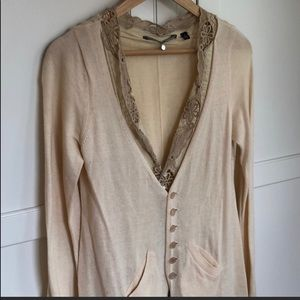 Knitted & Knotted Cream Wool Lace Cardigan M JS